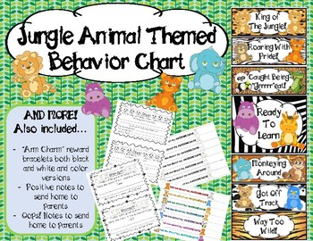 Jungle Animal Behavior Chart, Arm Charms and Behavior Notes