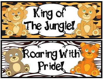 Behavior Chart-Jungle Animal Themed  Arm Charms and Behavior Notes