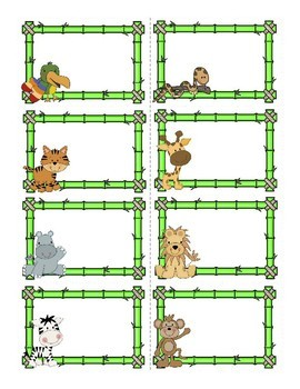 Jungle Animal Task Card Template