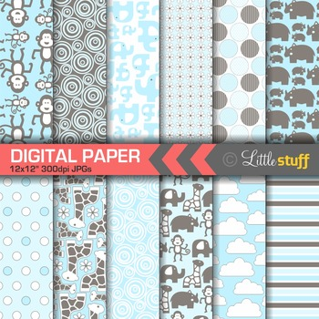 Jungle Animal Digital Paper Pack, Blue and Gray-Brown