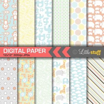 Jungle Animal Digital Paper Pack, Pastel Colors