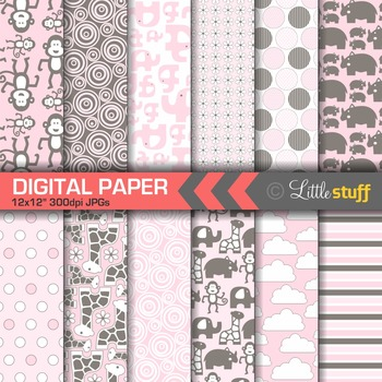 Jungle Animal Digital Paper Pack, Pink and Brown