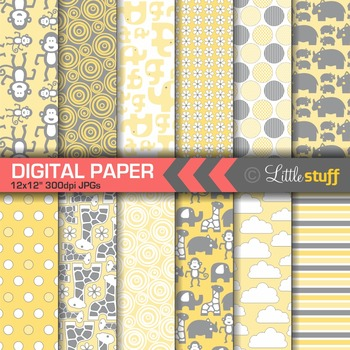 Jungle Animal Digital Paper Pack, Yellow and Gray
