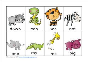 Jungle Animals Sight Word Race
