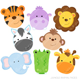 Jungle Animal Faces Cute Digital Clipart, Jungle Clip Art