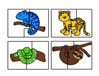 Jungle Animal Puzzle Cards