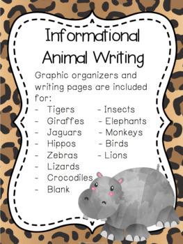 Jungle Animal Research Graphic Organizers