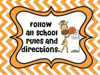 Jungle Classroom Rules (Chevron Print)