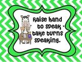 Jungle Classroom Rules (Chevron Print)