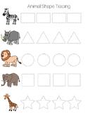 Jungle Animal Shape Tracing