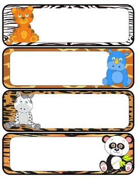 Jungle Animal Themed Name Tags And Labels Editable Tpt