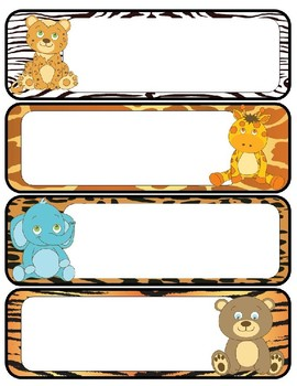 Jungle Animal Themed Name Tags and Labels- Editable!