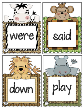 Jungle Animal Themed:  Sight Word Write the Room