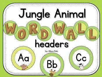 Jungle Animal Word Wall Headers
