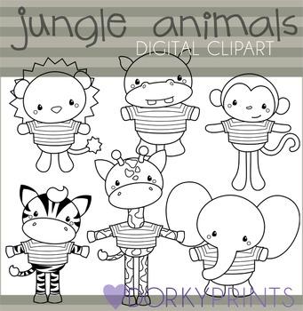 Jungle Animals Black Line Clip Art