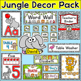 Jungle Theme Classroom Decor Pack: Name Tags, Teacher Binder, Classroom Jobs etc
