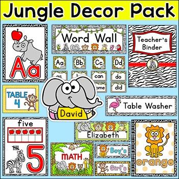 Jungle Theme Classroom Decor Pack: Name Tags, Teacher Bind