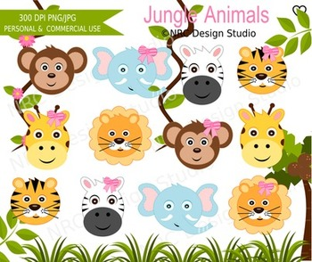 Jungle animals clipart commercial use