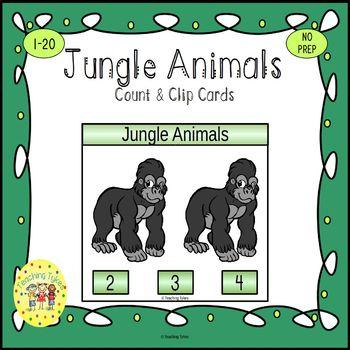 Jungle Animals Clip Task Cards