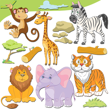 jungle animals clipart cute safari animals by clipartsstore tpt