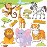Jungle Animals Clipart, Cute Safari Animals