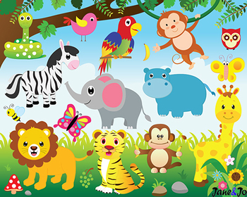 Jungle Animals Clipart Jungle Theme Safari Clipart Digital Paper Zoo Background