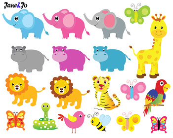 Jungle Animals Clipart Jungle Theme Safari Clipart Digital Paper Zoo Background