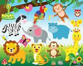 Jungle Animals Clipart Jungle Theme Safari Clipart Digital