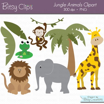 Jungle Animals Digital Art Set Jungle Clipart Animal Clipa