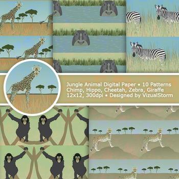 Jungle Animals Digital Paper, Printable Safari Animal Patterns