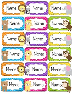 Jungle Animals Editable Name Tags / Desk Plates - Rainbow Chevron