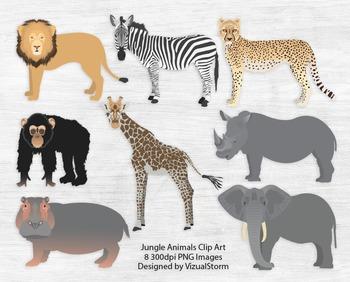 Jungle Animal Clip Art, 8 Hand Drawn and Detailed Safari Wildlife Illustrations