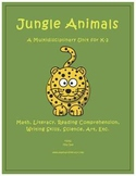 """Jungle Animals"" Math and Literacy Unit - Aligned with Com"