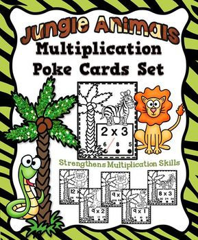 Jungle Animals Multiplication Poke Cards Activity Set