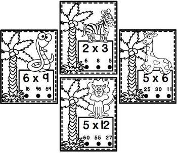 Jungle Animals Multiplication Poke Cards Activity Set