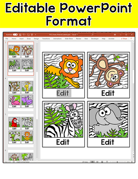 Jungle Animals Name Tags or Locker Labels - Polaroid Selfies