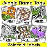Jungle Animals Name Tags or Locker Labels - Polaroid Selfies