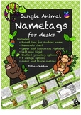 Jungle Animals Name tag or Nameplate for desks 2teach4fun