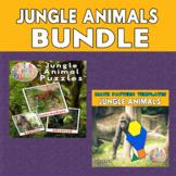 Jungle Animals Printable Puzzles & Math Blocks Pattern Tem