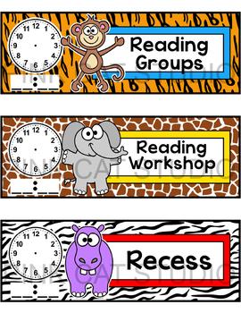 Jungle Animals Schedule Cards