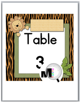 Jungle Theme Classroom Decor - Animal Table Numbers (6 Different Designs)