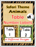 Safari Theme Classroom Decor - Animal Table Numbers
