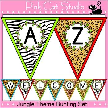 Jungle Theme Bunting Banner - Wild Animals Theme