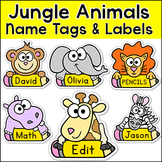 Jungle Animals Name Tags and Labels - Monkey, Giraffe, Elephant, Lion, Zebra