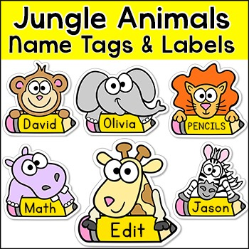 Jungle Animals Name Tags and Labels - Monkey, Giraffe, Elephant, Lion, Zebra
