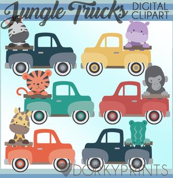 Jungle Animals Vintage Truck Clipart