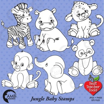 Jungle Baby Stamps Clipart, Animals Black line, AMB-132
