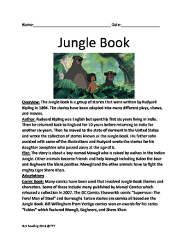 Jungle Book - Rudyard Kipling - History of the book, facts, fun stuff lesson