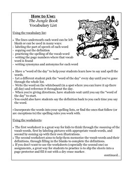 Jungle Book Vocabulary Packet