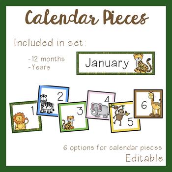 Jungle Calendar Set (Editable)